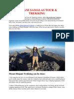 Rinjani Samalas Tour & Trekking, Mount Rinjani Trek Information