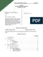 FCC Order Transfer to PTI DA-03-3563A1 of 11-06-2003