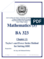 Taylor's and Power Series Method for Solving ODE