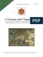 L'Europa nel cinquecento e le Guerre di religione