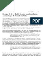 Resenha Do Livro 'Relativizando, Uma Introdução a Antropologia' de Roberto DaMatta