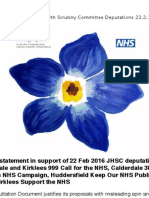 Deputations and Written statement to Calderdale and Kirklees Joint Health Scrutiny Committtee 22.2.16