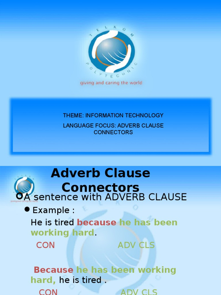 Chapter 6 Adverb Clause Connectors Adverb Grammar