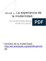 La experiencia de la modernidad