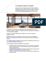 Mejores zonas para el alquiler de oficinas en Madrid