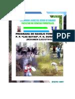 """Progr. de Man. Ftal P. P. """"Las Bayas"""", P. N. Durango. Resumen Ejecutivo. Quiroz Arratia, José a. 2007"""