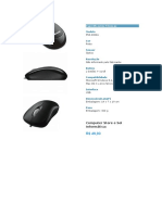 Especificações Técnicas Mouse