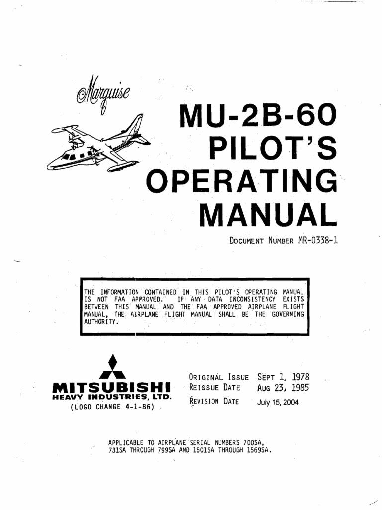 Mitsubishi MU-2B-60 Marquise Pilot's Operating Manual   Power ... on