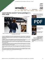 "Lucero Sánchez Acusa de ""Tortura Psicólogica"" a PGR y Seido — La Jornada"