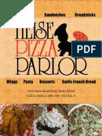 Heise Pizza Parlor Menu