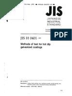 JIS H 0401 -1999-(Methods of Test for Hot Dip Galvanized Coatings)