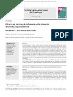Eficacia de tàcticas de influencia en la intenciòn de la conducta proambiental