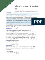 Dominio de Funciones de Varias Variables