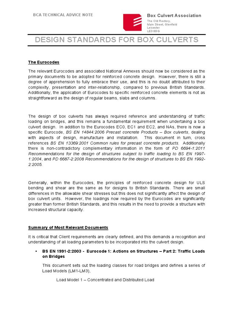 Bca Design Standards for Box Culverts   Precast Concrete