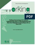WPS 138 Politique Economique Et Facteurs Institutionnels Dans Le Développement Des Marchés Obligataires Domestiques de La Zone CFA NV