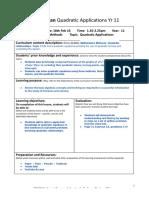lesson plan quadratic applications