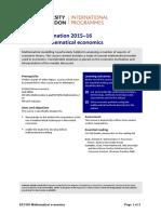 EC3120 Mathematical Economics