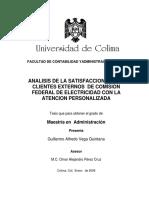 ANALISIS DE LA SATISFACCION DE LOS  CLIENTES EXTERNOS  DE COMISION  FEDERAL DE ELECTRICIDAD CON LA  ATENCION PERSONALIZADA