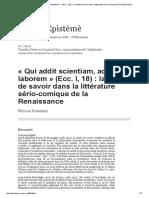 «Qui Addit Scientiam, Addit Et Laborem» (Ecc