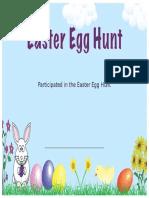 Easter Egg Hunt Certificate