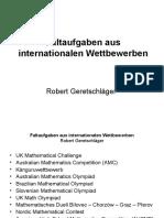 Faltaufgaben Aus Internationalen Wettbewerben