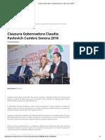 18-02-16 Clausura Gobernadora Claudia Pavlovich Cumbre Sonora 2016 - El Termómetro