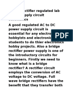 Bridge Rectifier Regulated Lab Power Supply Circuit Schematics