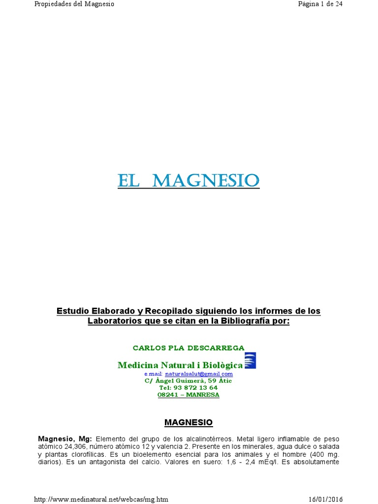 Medicina general el colorado de magnesio para adelgazar