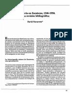 Navarrete, David. La Minería en Zacatecas, 1546-1950. Una Revisión Bibliográfica