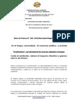 """NOTA DE PRENSA N° 009 ECOEFICIENCIA""""…USO EFICIENTE DE LOS RECURSOS NATURALES E INSUMOS"""