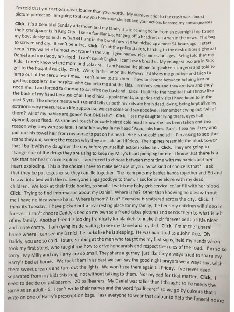 Victim Impact statement of Jennifer NevilleLake – Victim Impact Statement