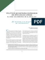 Política Monetpolítica Expansiva en Epoca de Crisis - Colombia