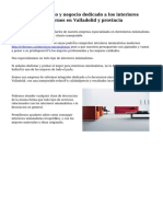Excepcional servicio y negocio dedicado a los  interiores minimalistas modernos en Valladolid y provincia