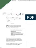 18-02-16 Legisladores Latinos Critican Uso Electoral de La Migración en EUA