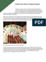 Tanda yang Menyebabkan Kurs Dollar Mengenai Rupiah Semakin Naik
