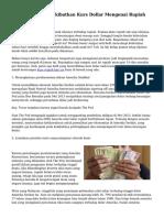 Tanda yang Mengakibatkan Kurs Dollar Mengenai Rupiah Semakin Naik