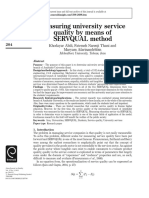 Measuring university service quality by means of SERVQUAL method
