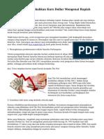 Alasan yang Menyebabkan Kurs Dollar Mengenai Rupiah Semakin Naik