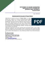 Notification IIT BHU Project Fellow Posts