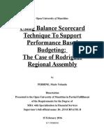 using balanced scorecard to support Performance Based Budgeting