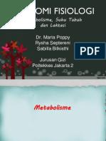 Metabolisme, Suhu Tubuh Dan Laktasi  - Dr. Maria Poppy Herlianti, B.Sc, M.Epid