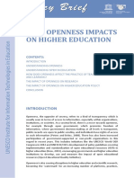 How Openness Impacts on Higher Education