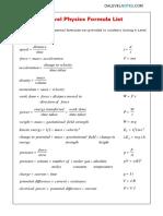 A Level Physics Formulae Sheet 1