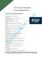 Bai Luyen Tap Ve Cau Tuong Thuat Hay Co Dap an Exercises on Reported Speech