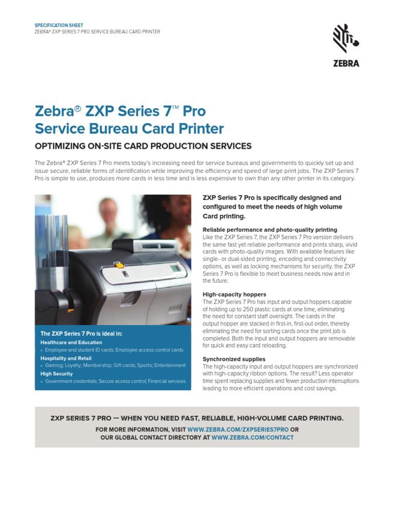 Zebra ZXP Series 7 Pro, Specification Sheet, English, NALA | Printer