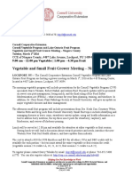 Vegetable and Small Fruit Grower Meeting—Niagara County