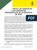 Carta Abierta a Candidatas y Candidatos Presidenciales en Perú
