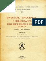 Inventario topografico e bibliografico delle cripte eremitiche basiliane di Puglia - G. Gabrieli