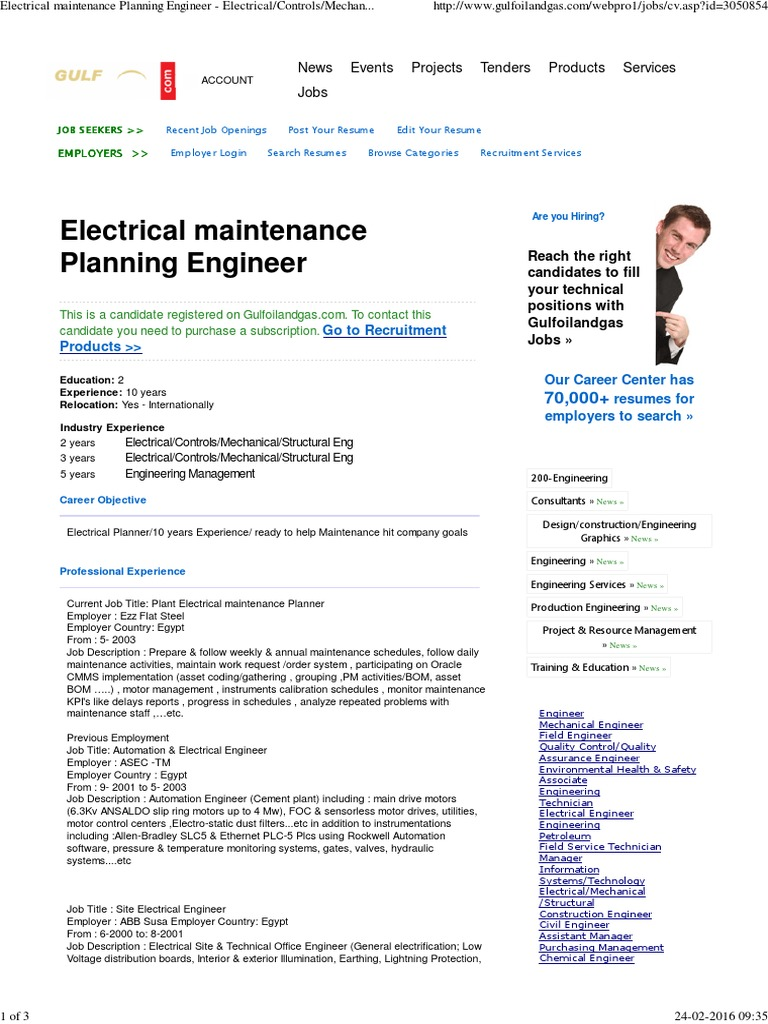 Electrical Maintenance Planning Engineer -  Electrical_Controls_Mechanical_Structural Eng at Gulf Oil & Gas   Petroleum    Natural Gas