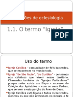 1 - Noções de eclesiologia